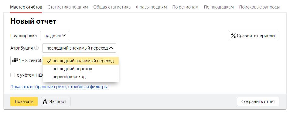 Модели атрибуции в Яндекс Директ 1