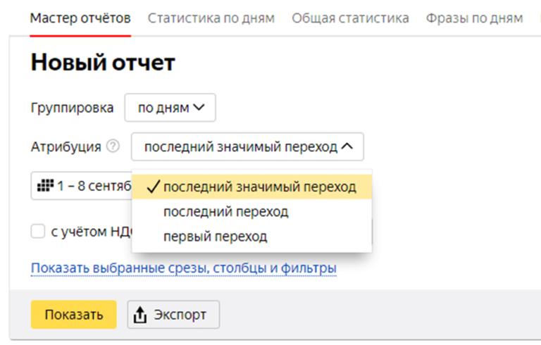 Модель атрибуции в Яндекс Директ
